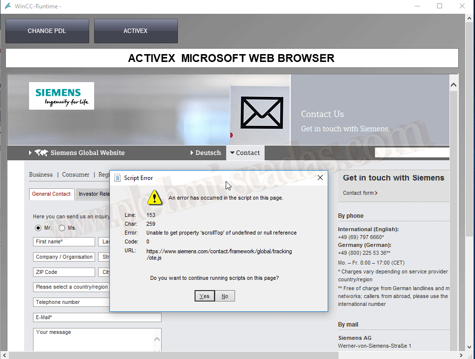 WinCC ActiveX WebBrowser -  Net WebBrowser